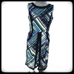 📂ELLEN TRACY DRESS. SLVLS Blue/grn w/Blk piping 8